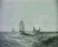 fishing boats in choppy seas [&] fishing boat at  sea by william p. rogers